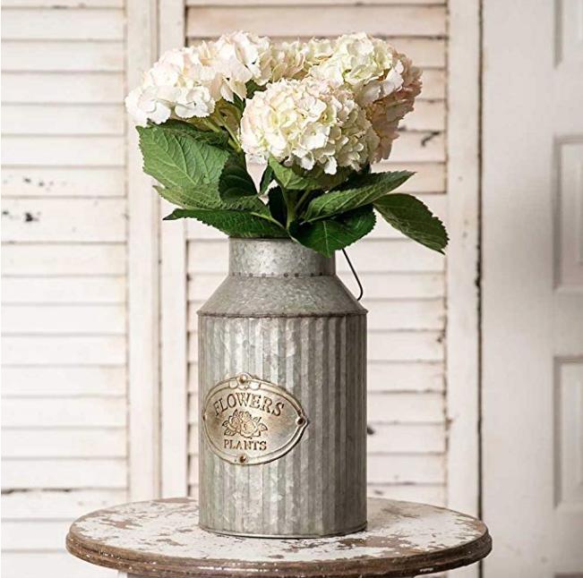 vintage industrial flower can vase