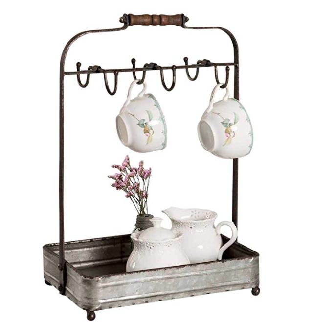 tea rack with mug hooks