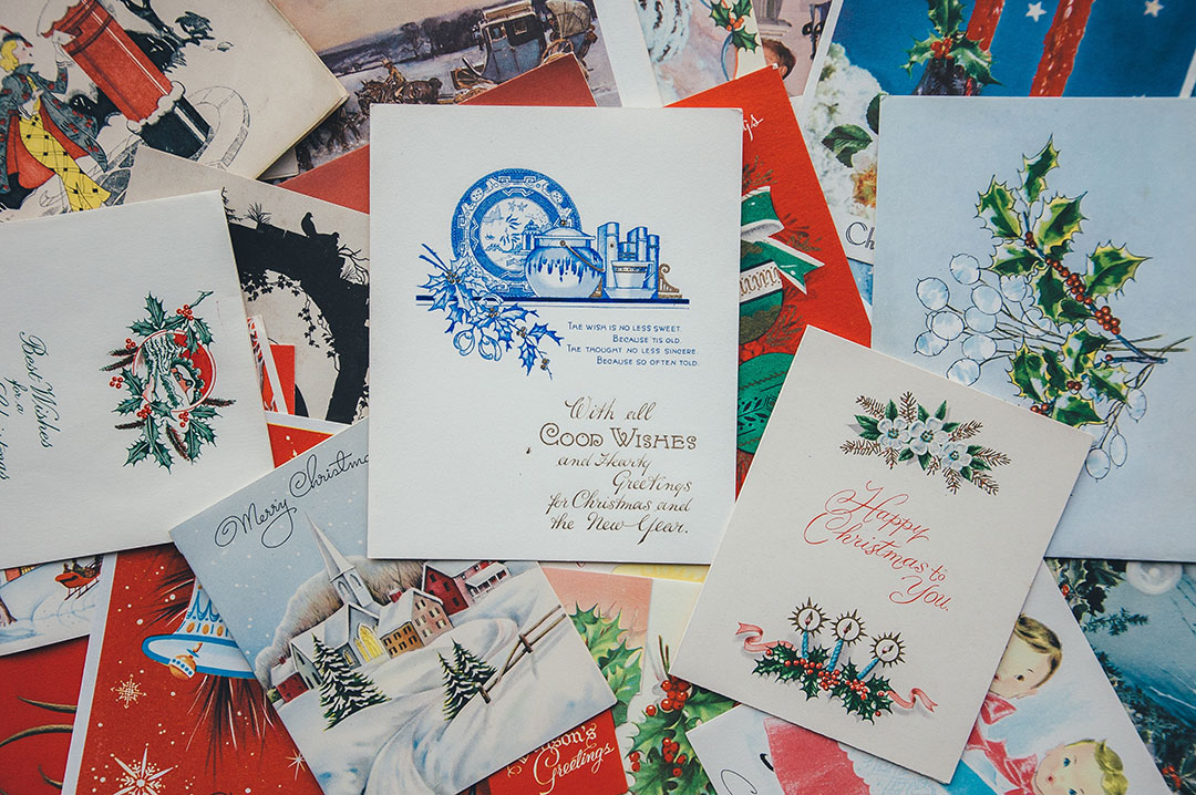 A collection of vintage christmas greeting cards