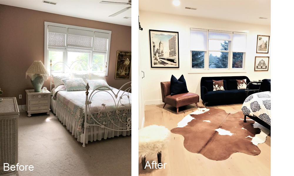 Victory Farms master bedroom before and after.