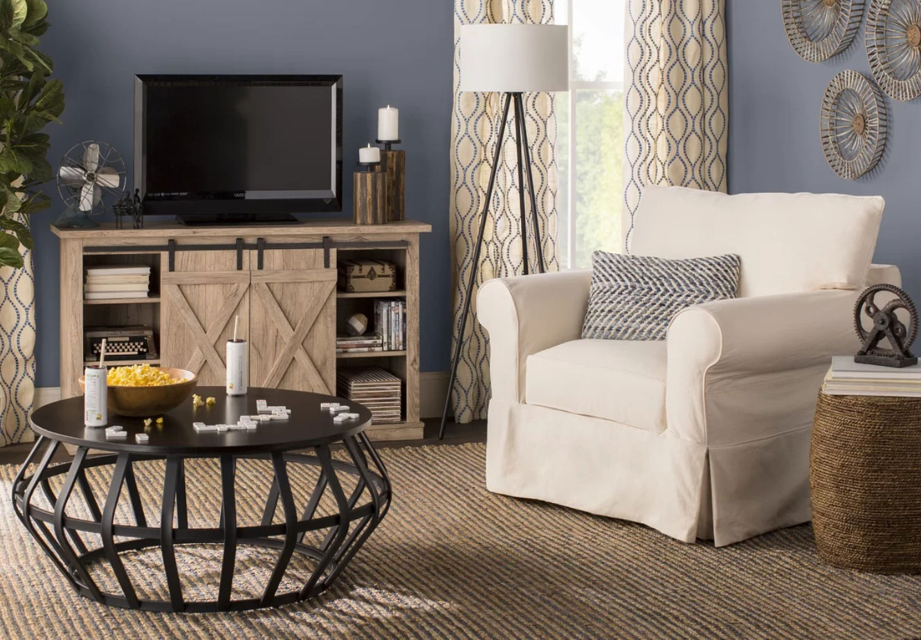 Black Friday deals: Birchlane arm chair and entertainment unit.