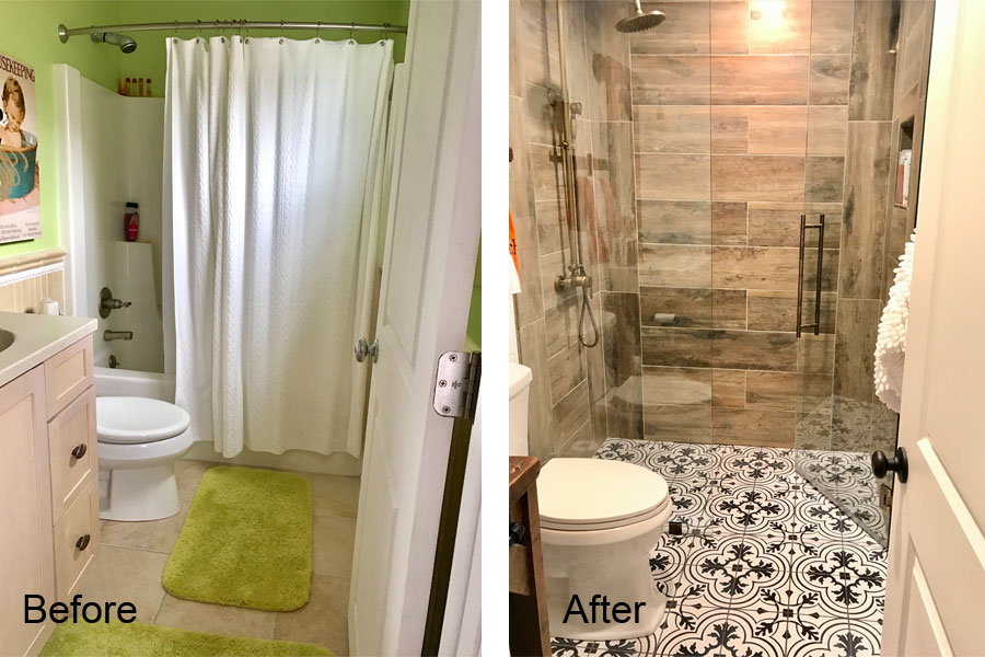 Victory Farms downstairs bathroom before and after.