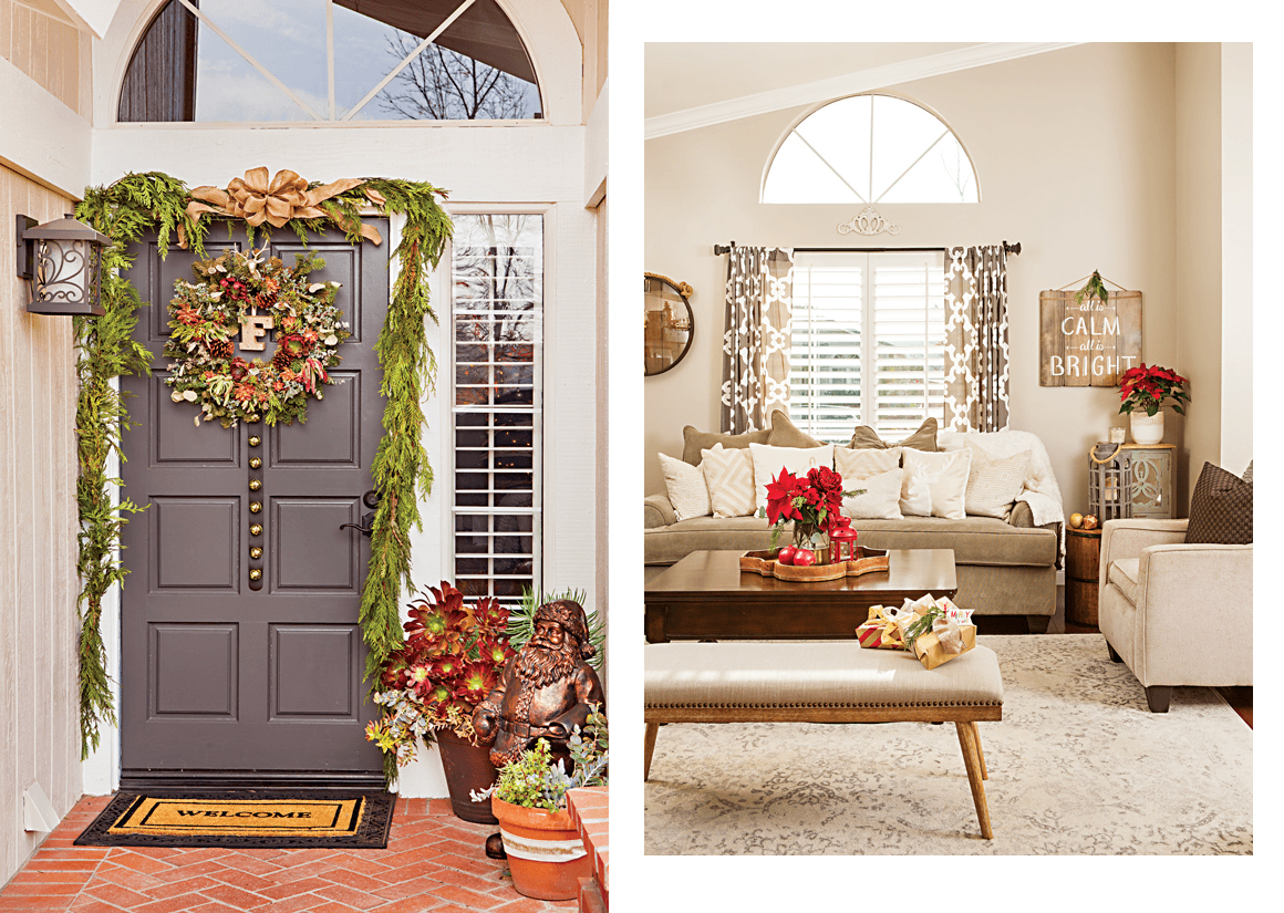 A succulent wreath on the front door serves as a nod to the California Valley climate, and a neutral living room is brightened with bright poinsettias. // Cottages & Bungalows