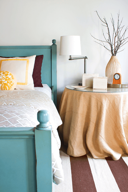 bed paired with simple yet textural linens