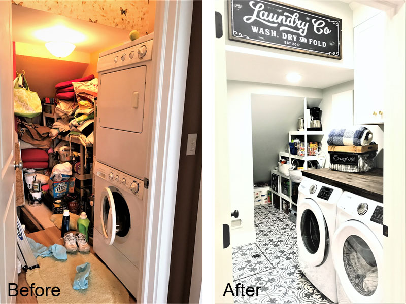 Victory Farms laundry room before and after.