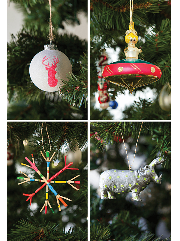An array of vintage Christmas ornaments adds personality to any holiday décor.