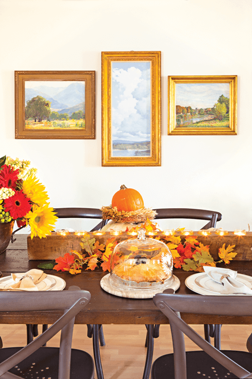 Fall table setting with vintage décor