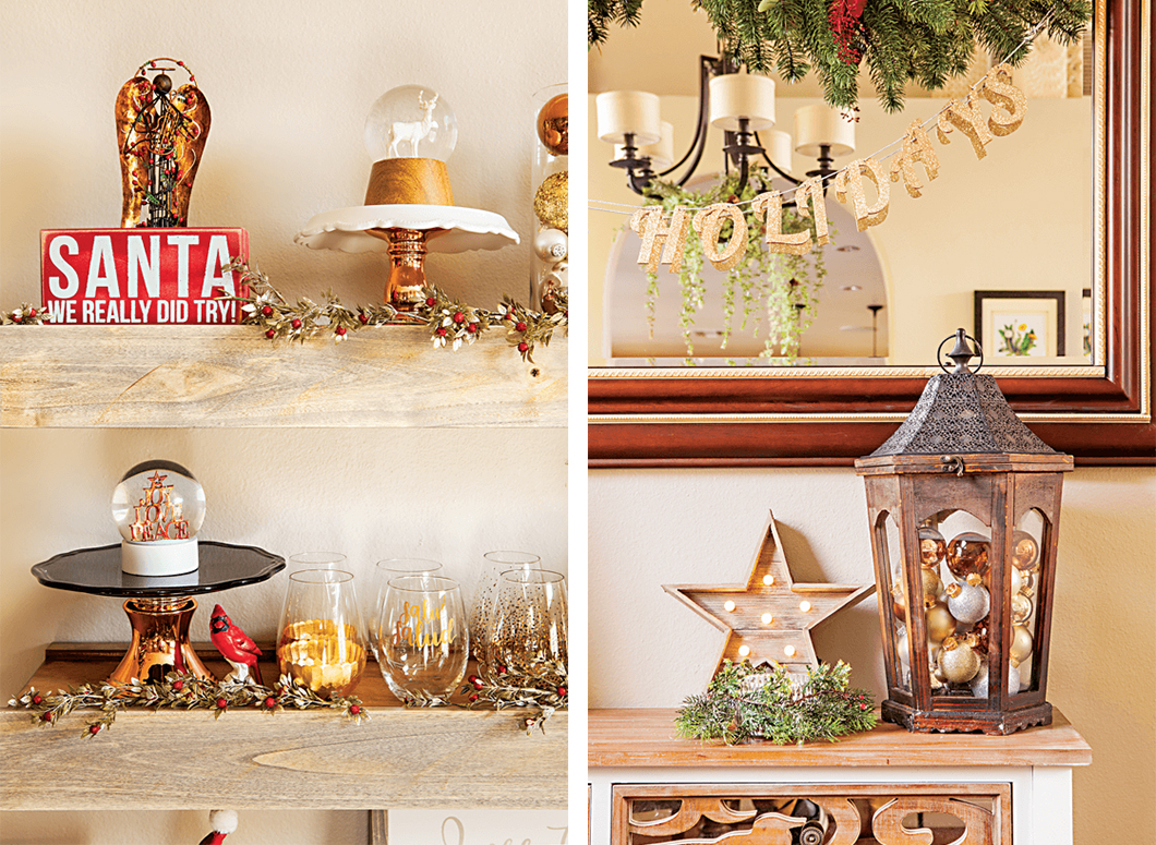 Array of up-close shots featuring Christmas décor that can be displayed on shelves throughout your home—ornament clusters and garland create a clean and simple look. // Cottages & Bungalows