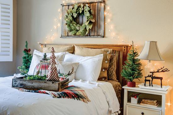bedroom with farmhouse christmas decor