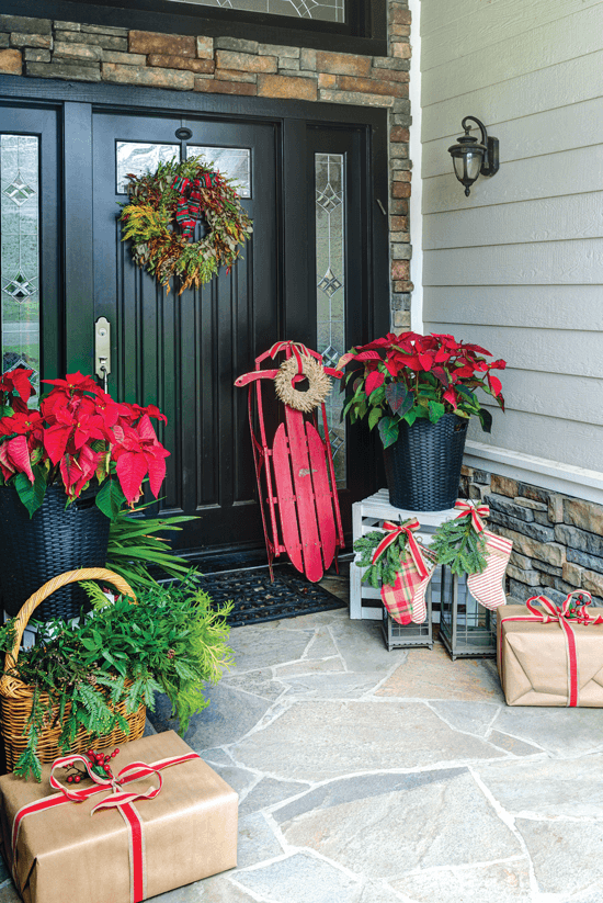festive christmas front door entryway