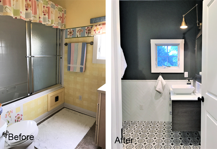 Victory Farms upstairs bathroom before and after.