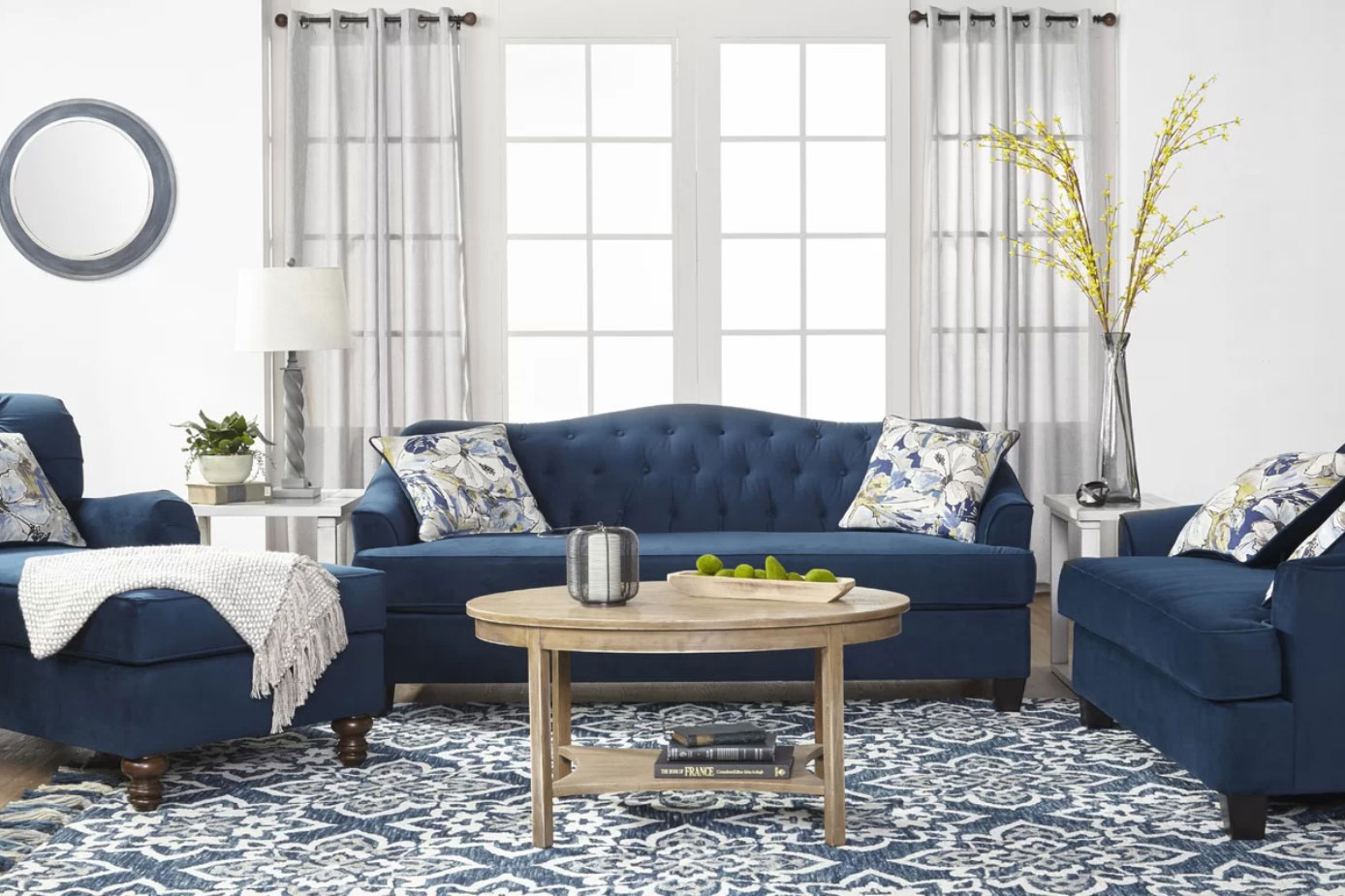 Black Friday deals: Navy living room set with couches and lounge chair.