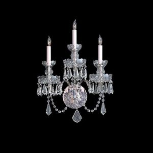 "Crystorama traditional crystal 3 light 15"" wide wall sconce with clear spectra crystals."