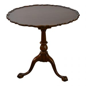 Biggs Kittinger Chippendale style mahogany tilt top pie crust table from Chairish.
