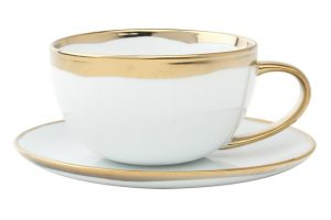 Canvas Dauville gold glazed cup & saucer from Burke Décor.