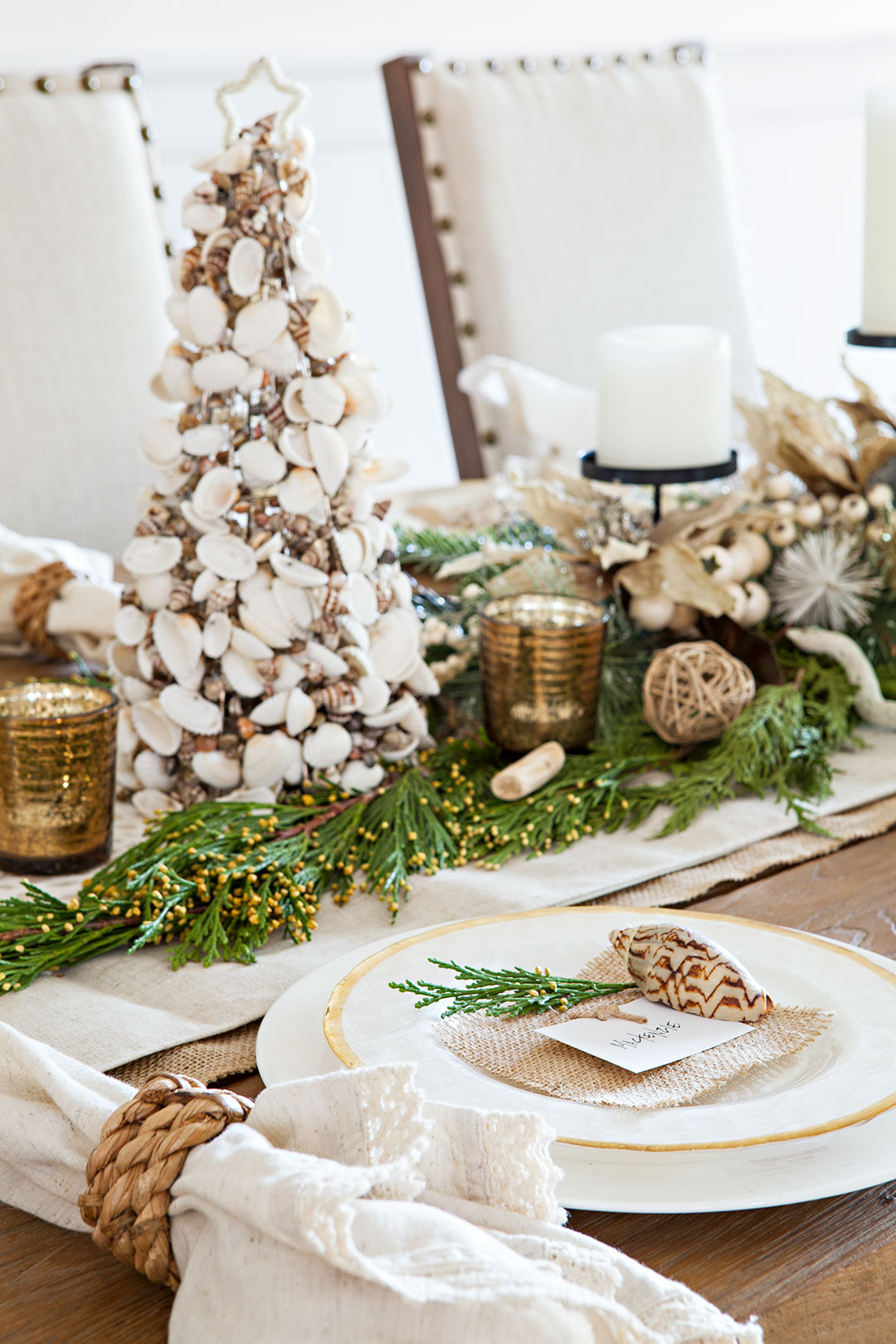 Modern, rustic beach Christmas tablescape