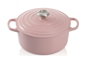 Le Creuset signature cast-iron round dutch oven, starting at $285, from Williams Sonoma. Shown here in light pink.