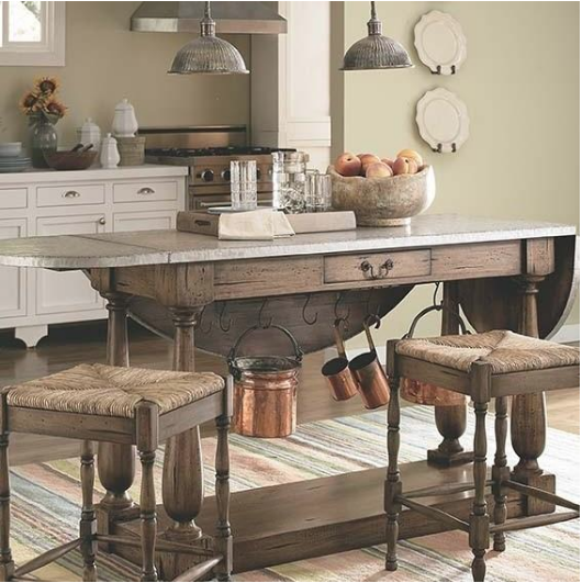 rustic kitchen island with fold-down leafs