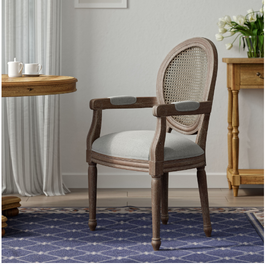elegant rattan back dining table