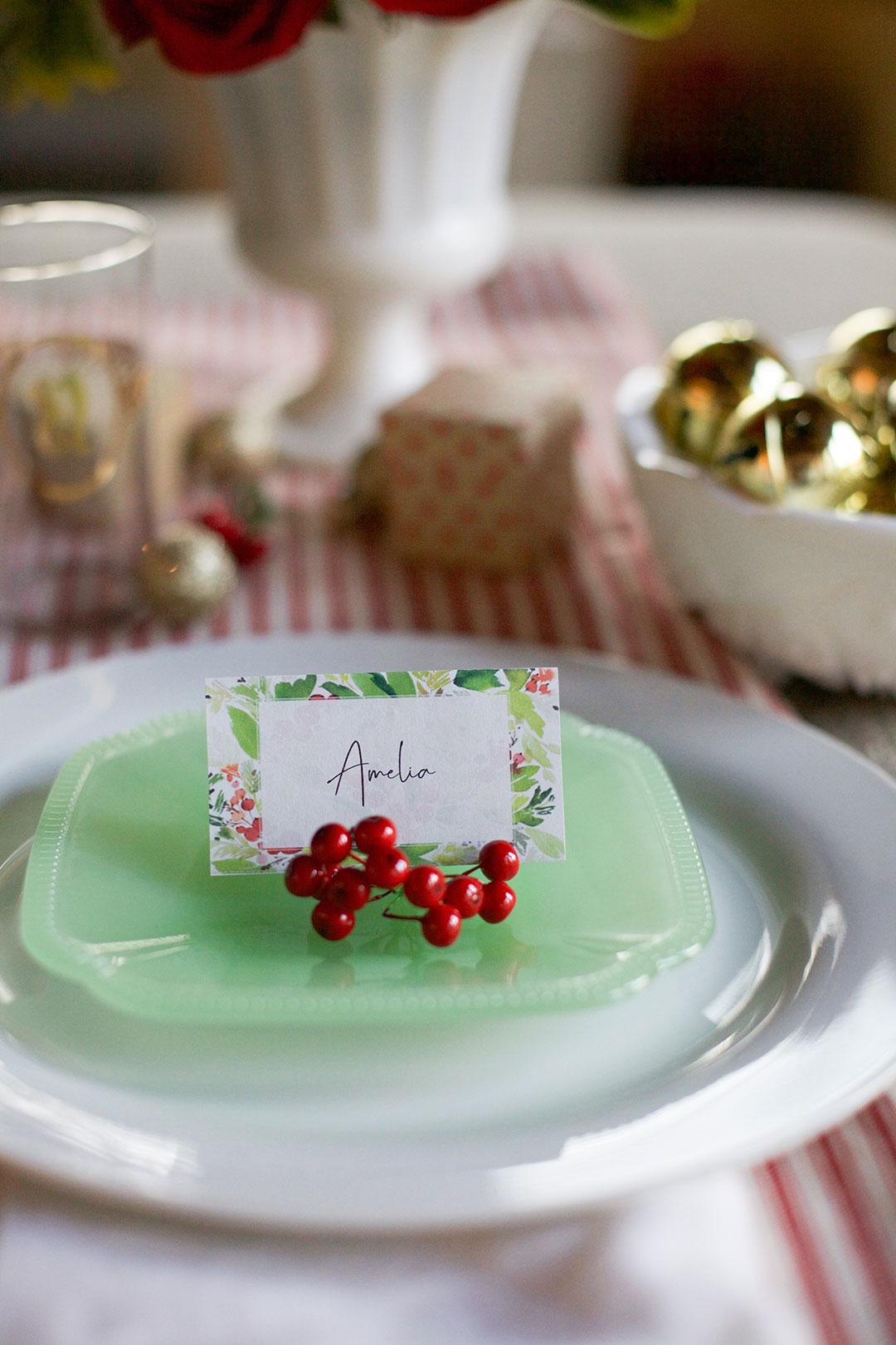 Printable name card for cottage christmas tablescape