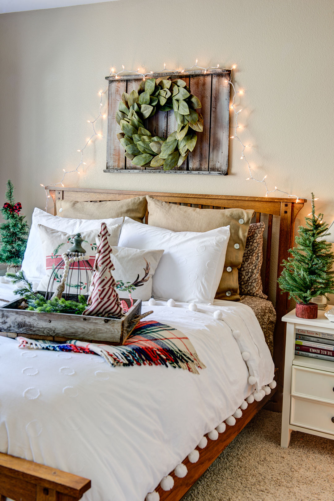 Guest bedroom decorated for Christmas overnight visitors