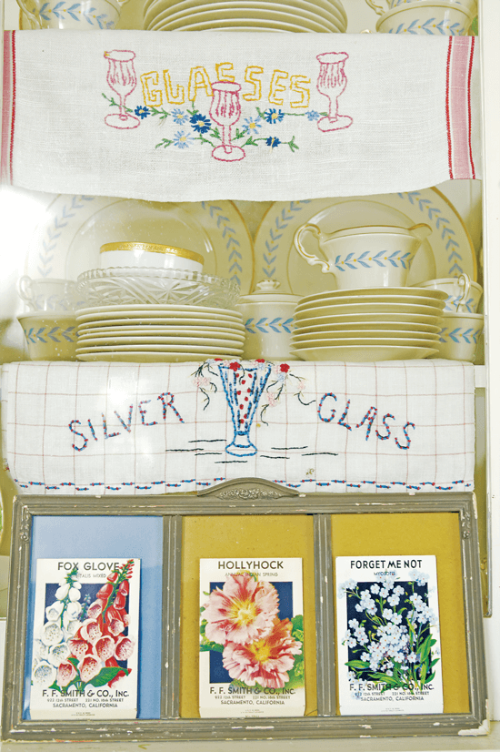 Colorful mats help to make this set of framed vintage seed packets pop.