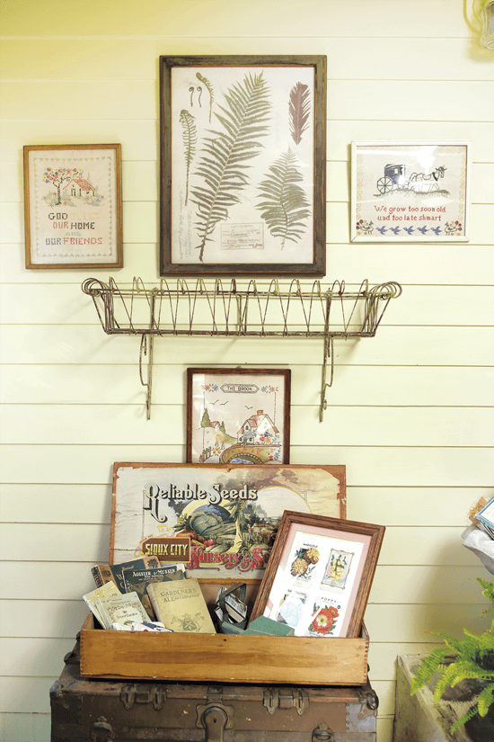framed vintage seed packets on a shiplap wall