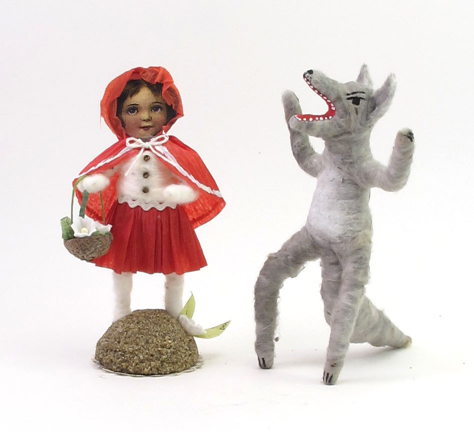 Little Red Riding Hood and the Big Bad Wolf Spun Cotton Fairy Tale Characters - Vintage by Crystal