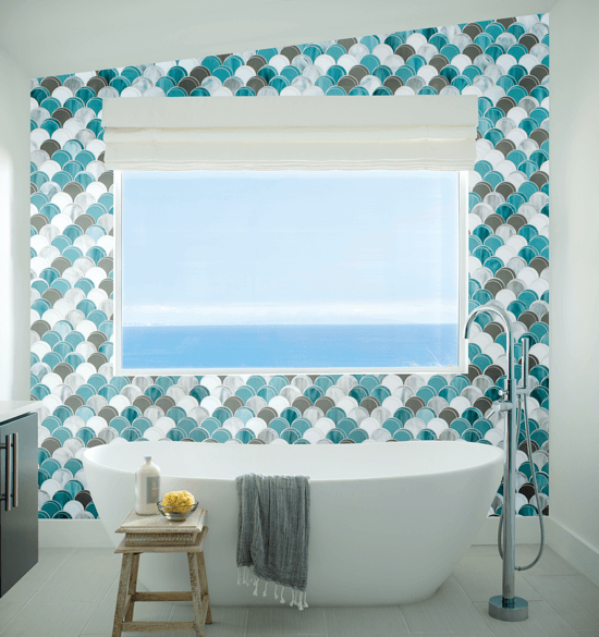 blue toned scale-patterned glass tile