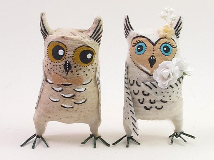 Vintage Inspired Spun Cotton Owl Couple for a Wedding Cake Topper or Ornaments. Read more about how this creator is reviving a lost Victorian Art!
