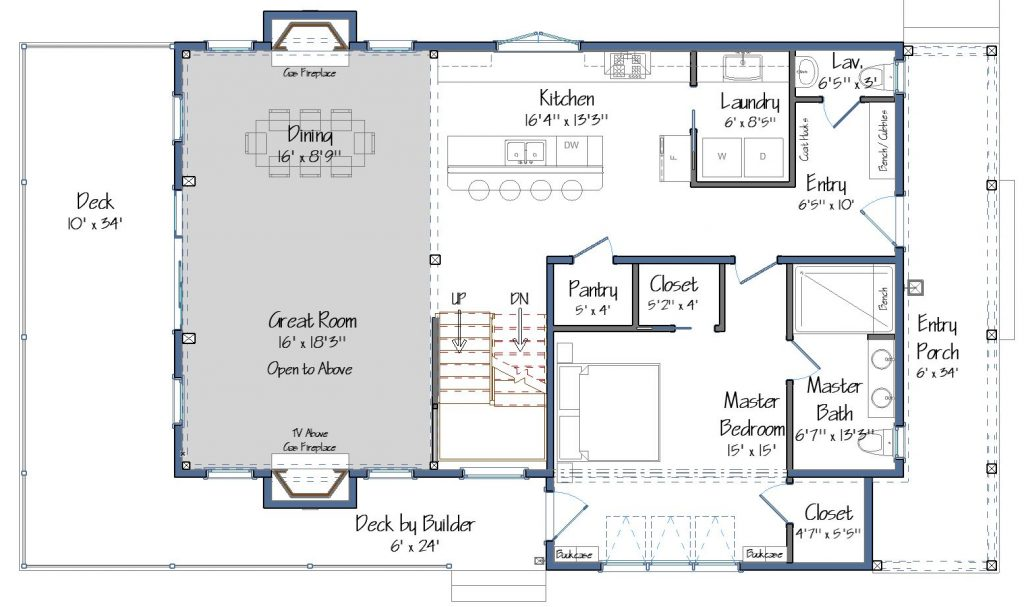 Farm Cottage home plan for the Project House 2019. The first floor will consist of the master bedroom, kitchen, laundry, a half bath and an open dining and great room. The great room will open out to a large deck that overlooks protected marshlands.