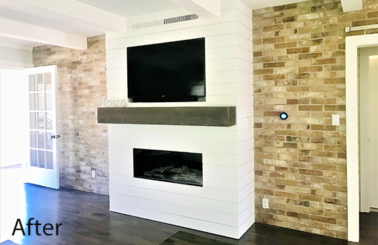 fireplace with shiplap surround