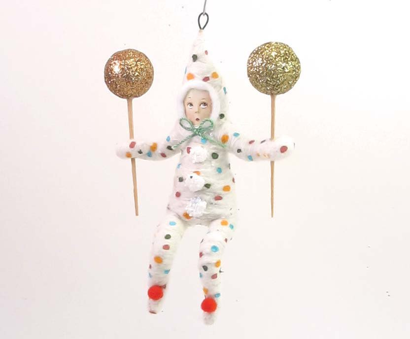 Vintage Inspired Spun Cotton Clown Child