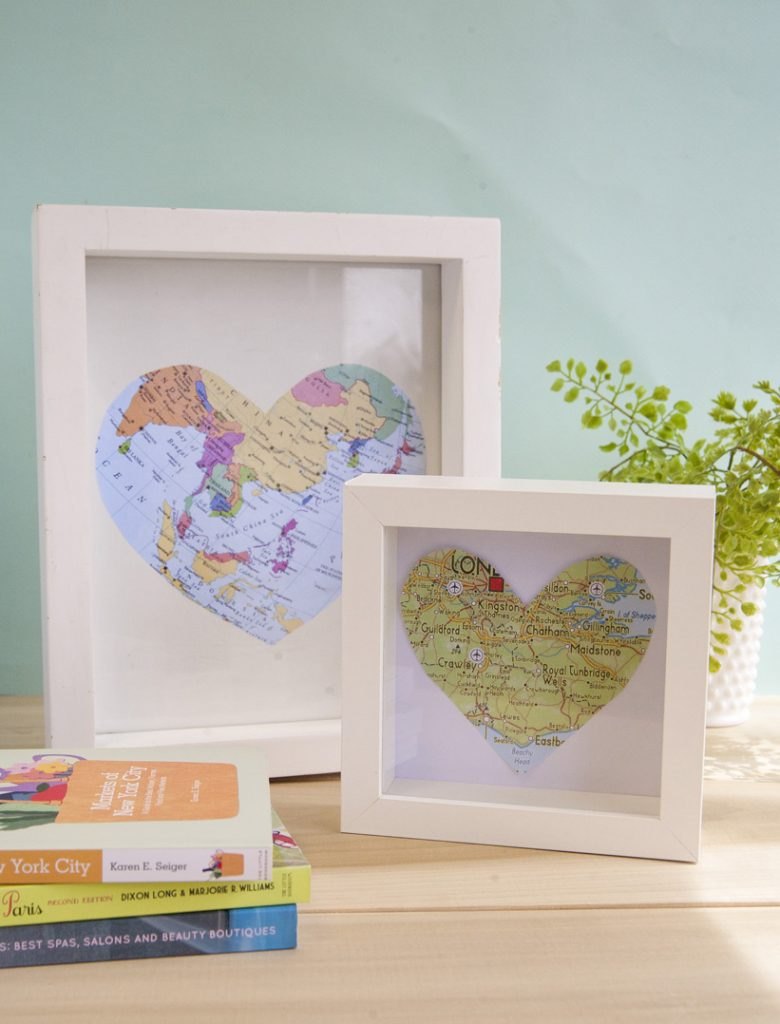 framed heart shaped map