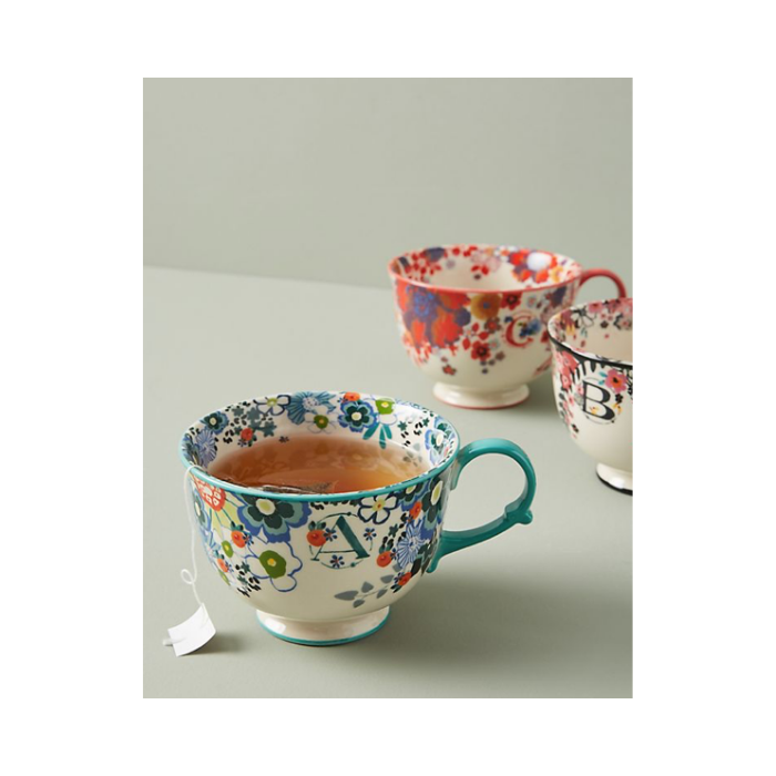 Floral Monogram mug with letter A from Anthropologie