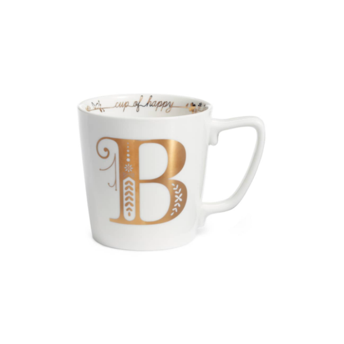 White Monogram Mug with a Gold Letter B
