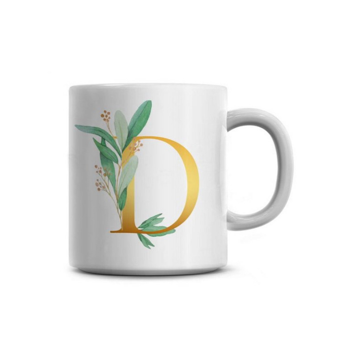 White Mug with gold monogram letter D