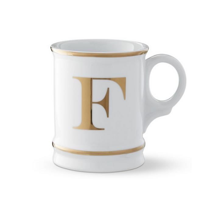 White Mug with gold rim and monogram letter F