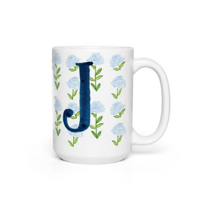 White Mug with Navy Blue Monogram Letter J and light blue flowers