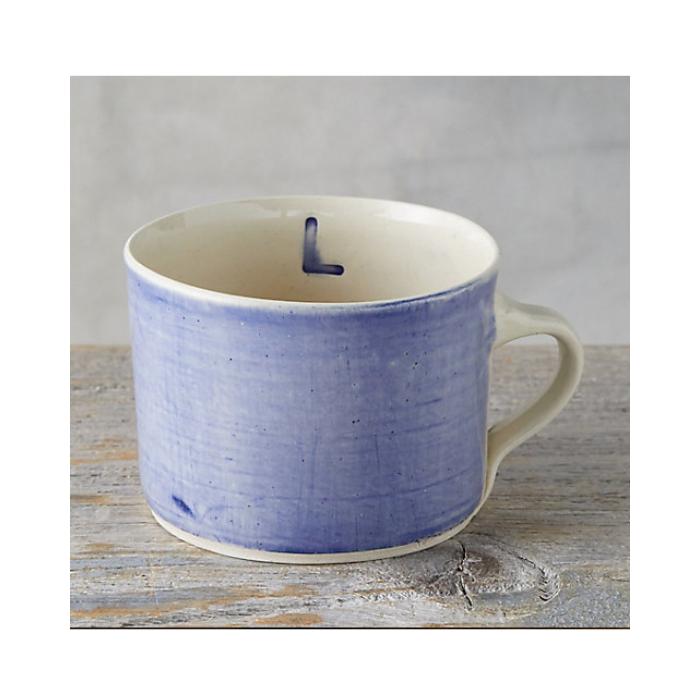 Pottery Style Lavender Mug with Monogram Letter L