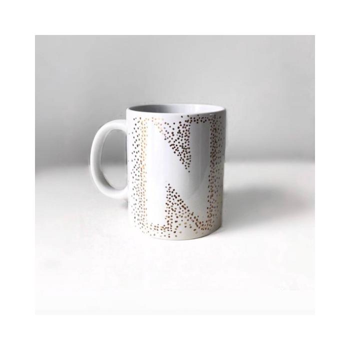 White Mug Negative Space Monogram Letter N