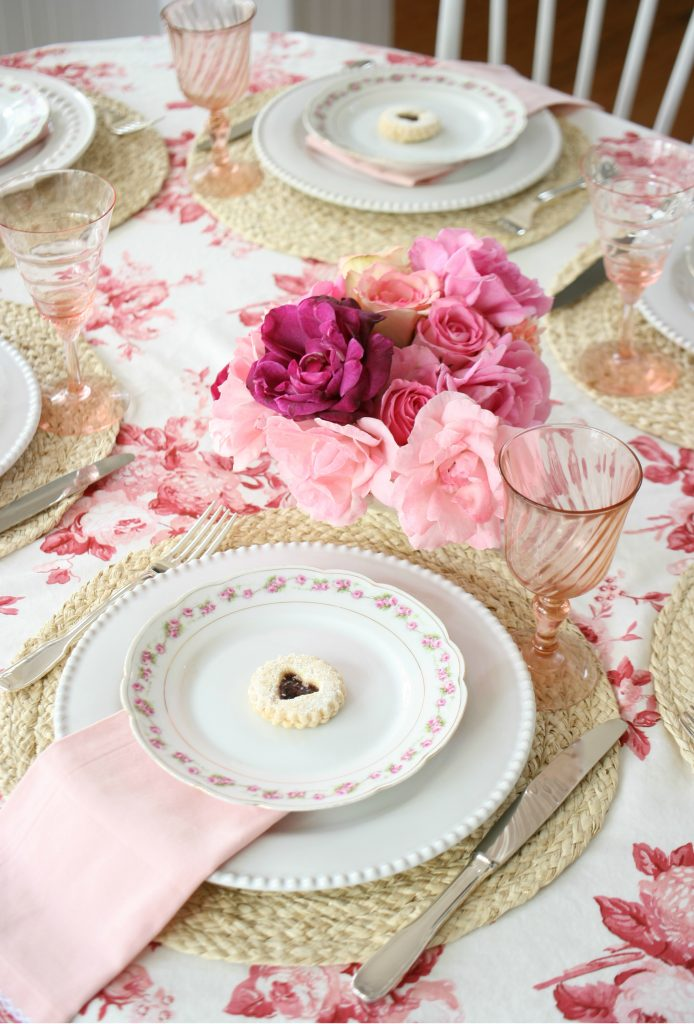 pink and red galentines tablescape