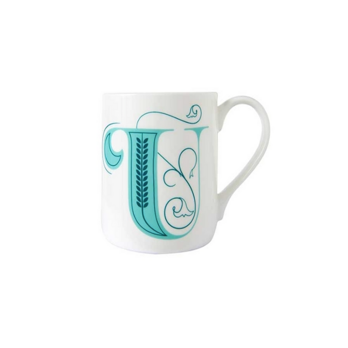 White Mug with Ornate Teal Letter U