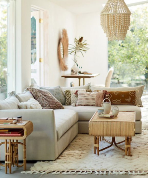living room setting designed with the new Joanna Gaines and Anthropologie line