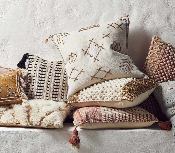 pile of designer pillows