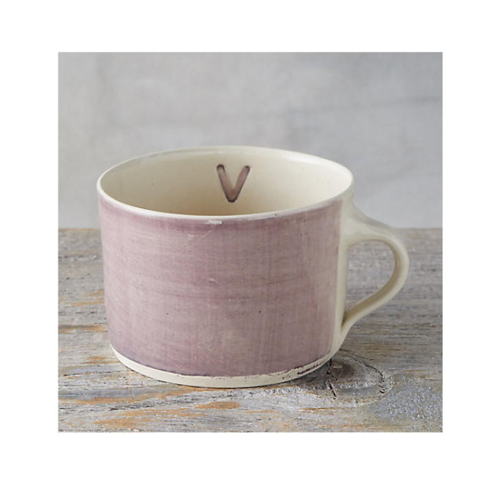 Lavendar Mug with Monogram V Inside