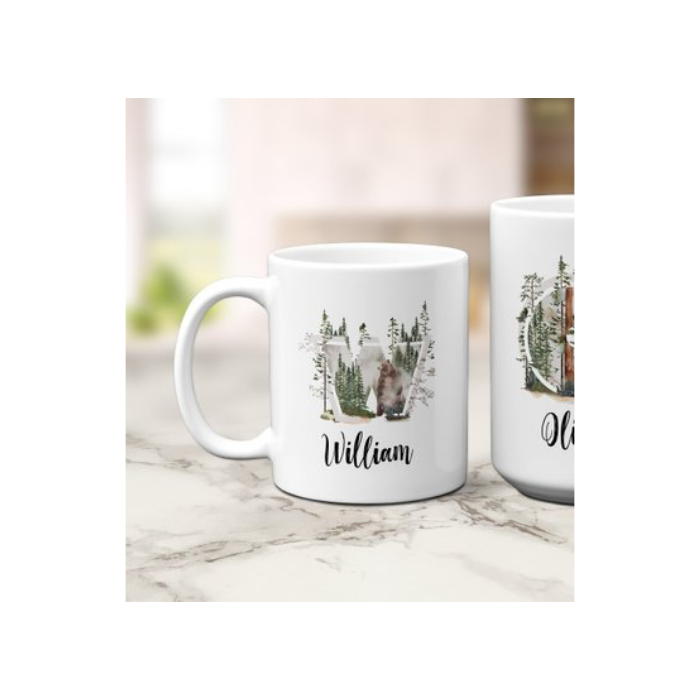 White Mug with Forest Art Detail and Monogram W