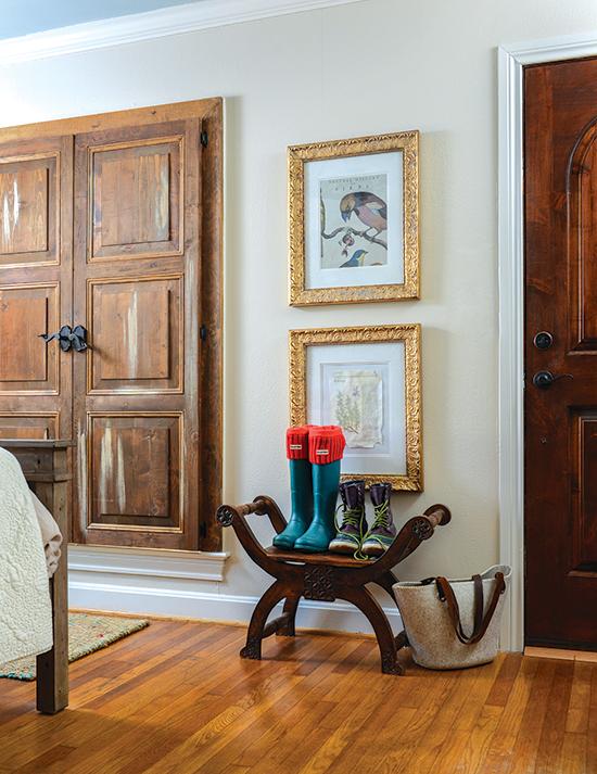 antique bench and gold gilded framed art