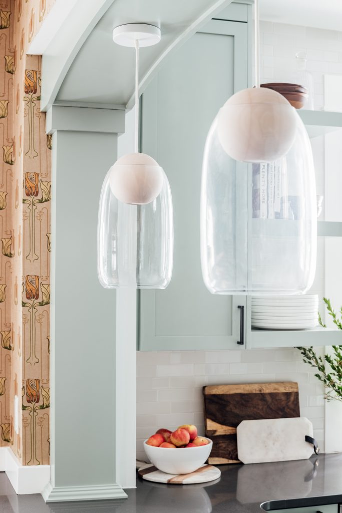 wood and glass pendant lights