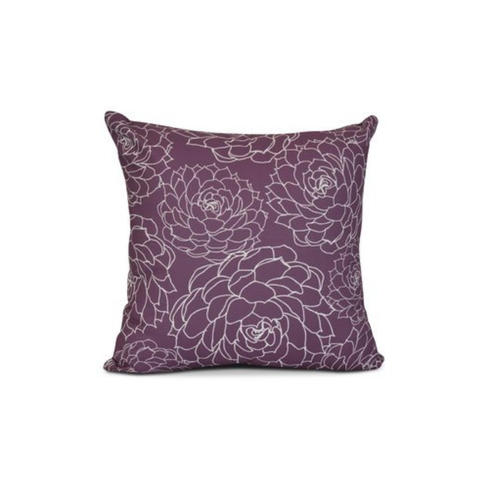 Dark purple pillow with white stenciled flowers
